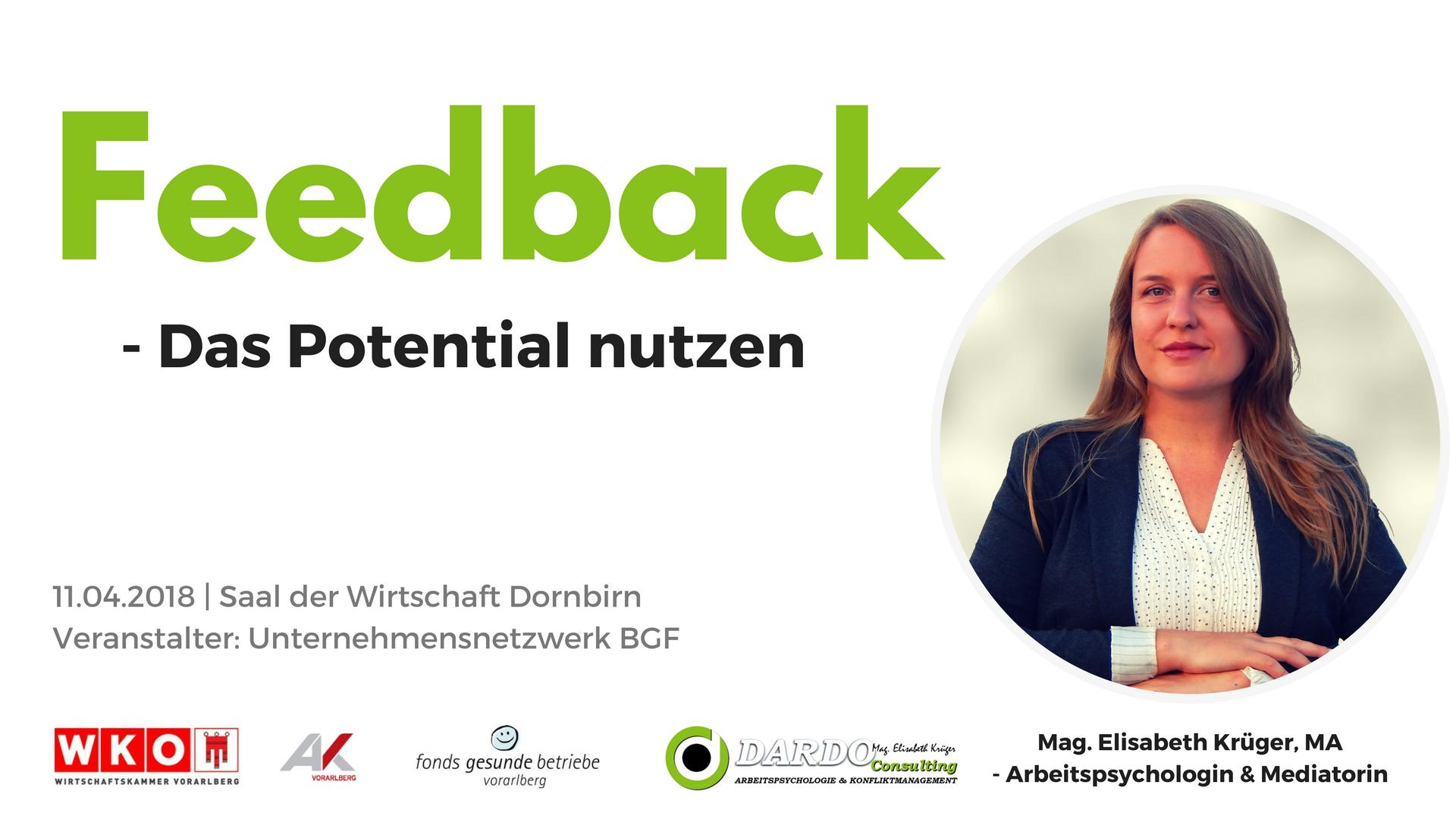 Vortrag Feedback in Unternehmen – das Potential nutzen